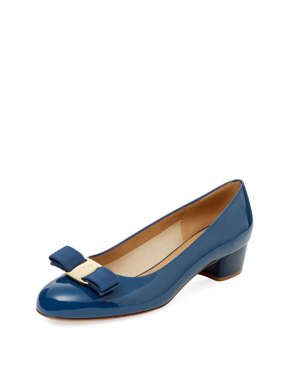 3fa0bb38c4 SALVATORE FERRAGAMO Vara Patent Leather Block Heel Pump, Blue   Necy ...