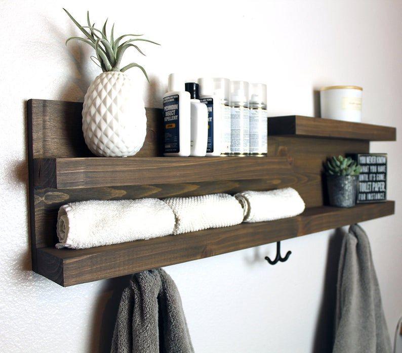 32 Bathroom Shelf Organizer With Towel Hooks Modern Etsy In 2020 Bathroom Shelf Organization Bathroom Shelves Shelves