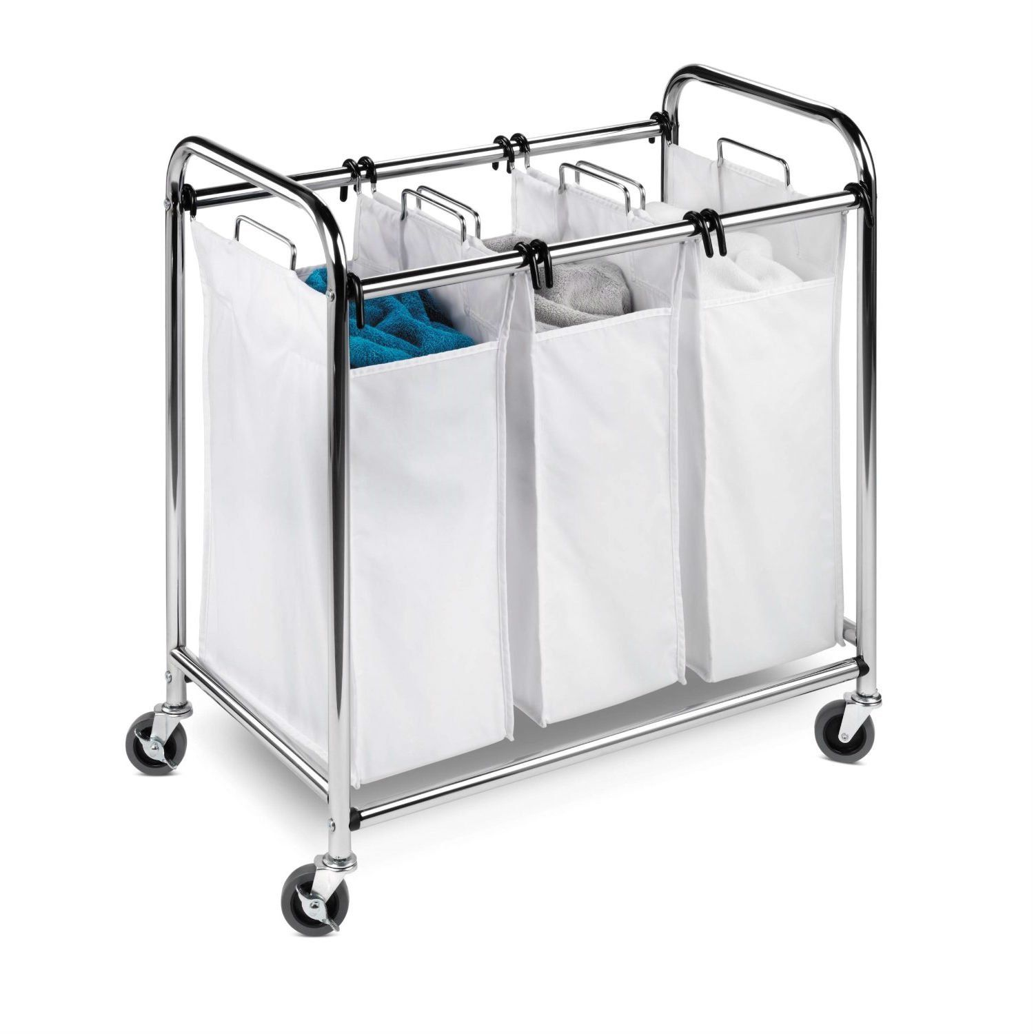 Heavy Duty Commercial Grade Laundry Sorter Hamper Cart In White Chrome With Images Laundry Sorter Laundry Hamper Laundry Sorter Hamper