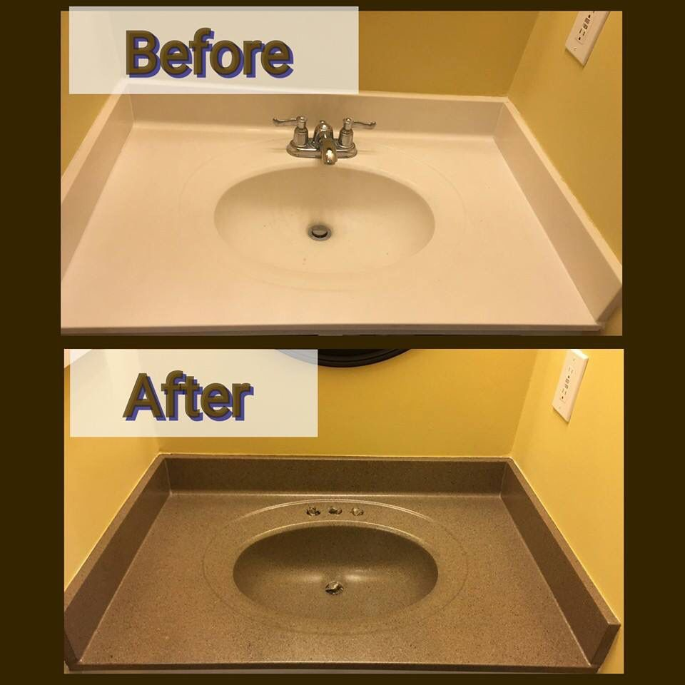 At This House We Refinished The Bathrooms Vanity Top In A