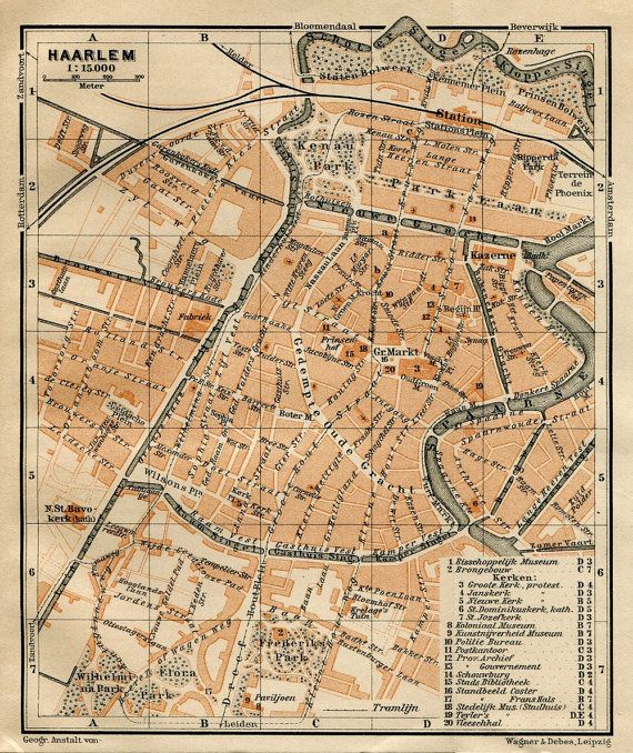 1905 Haarlem Old City Map Holland Netherlands by CarambasVintage