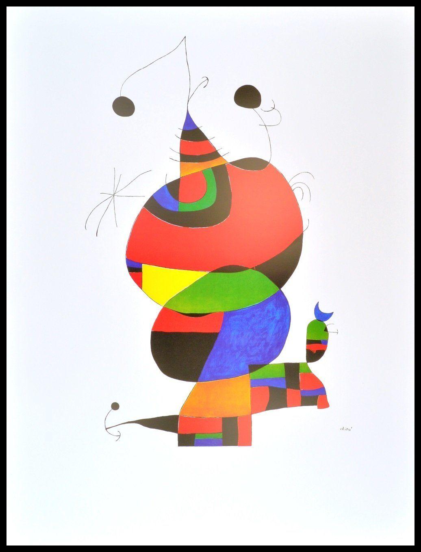 Joan Miro Hommage an Picasso Poster Kunstdruck mit Alu Rahmen schwarz 100x70cm