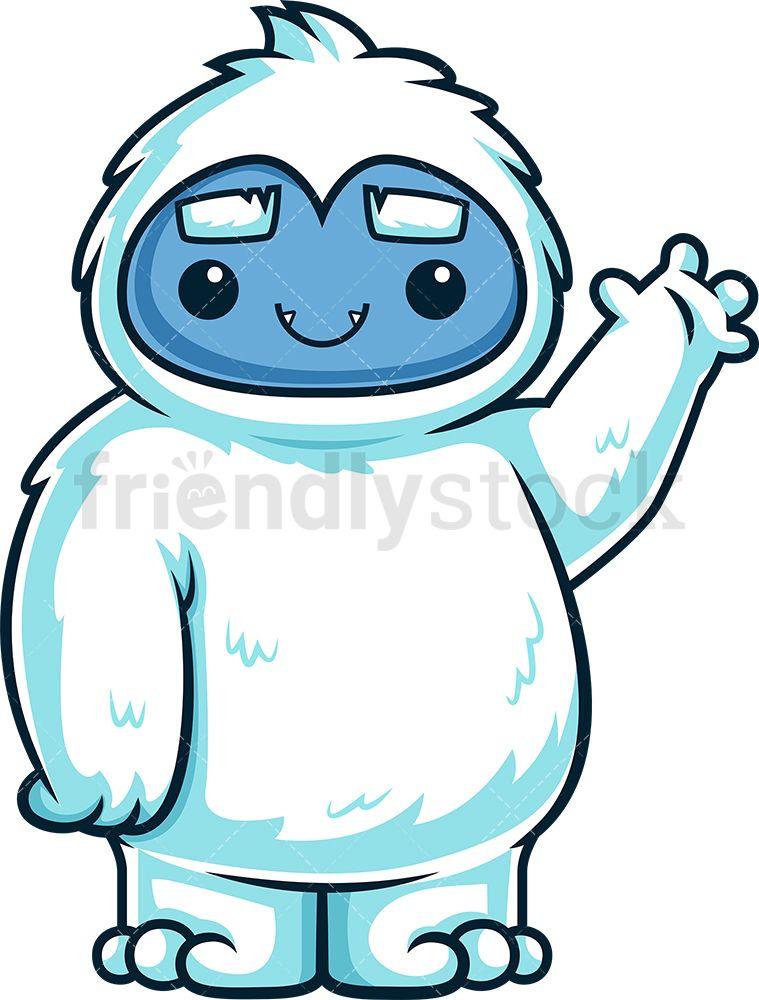 Cute Yeti Monster Waving Hello Cartoon Clip Art Hello Cartoon