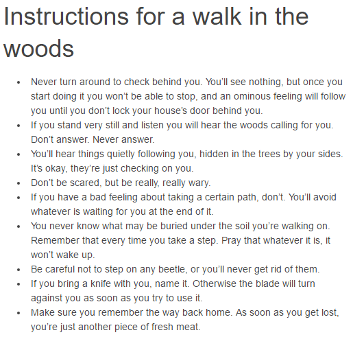 Instructions for a walk in the woods