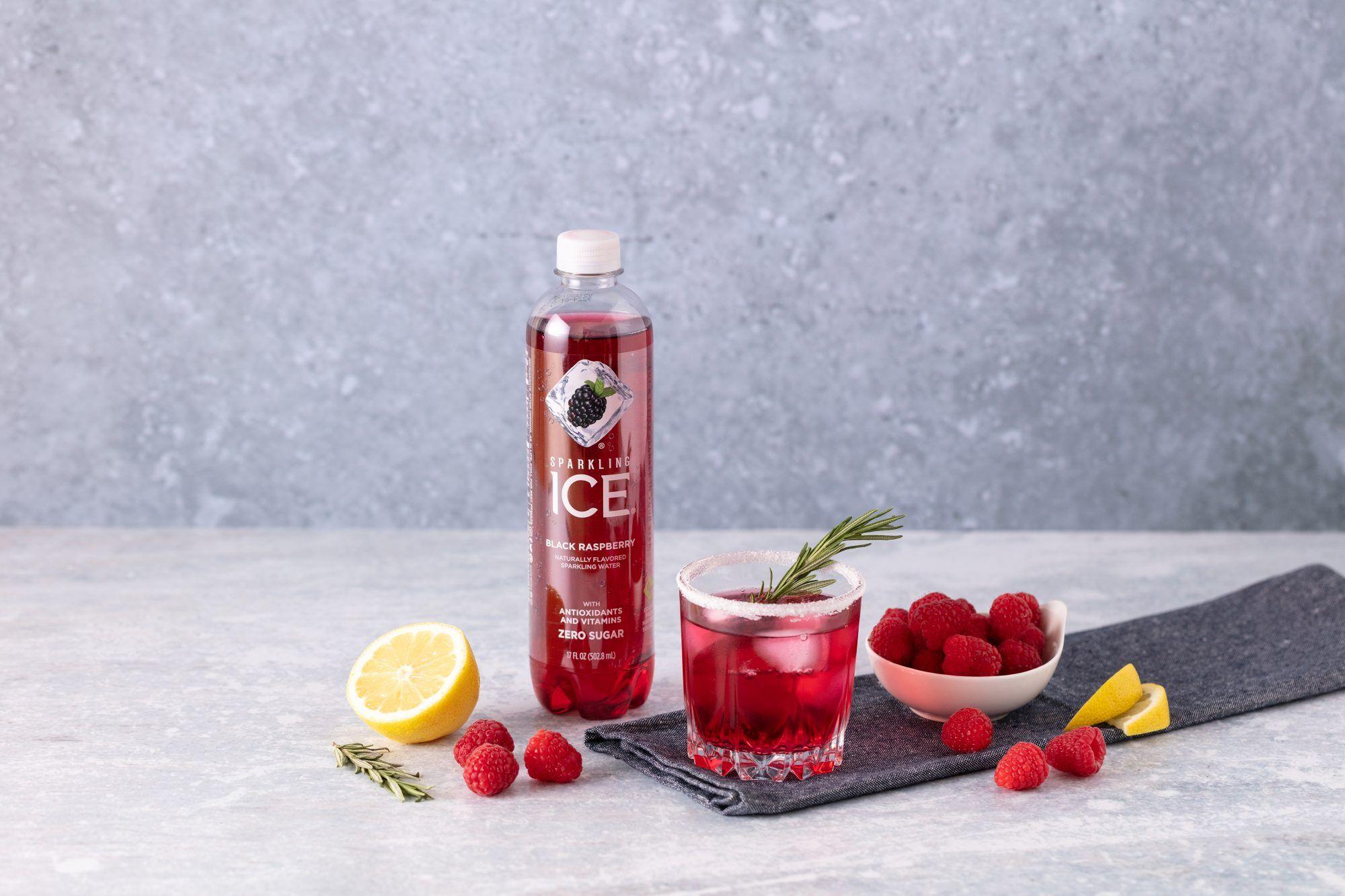 What You Need 4 Oz Sparkling Ice Black Raspberry 2 Oz Vodka 1 Tbsp Sugar 5 Raspberries 1 Lemon Wedge 2 Sprigs Of Rosemary In 2020 Keto Drink Alcoholic Treats Berries