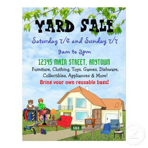 Custom Yard Or Garage Sale Flyers  Yard Sale And Yards