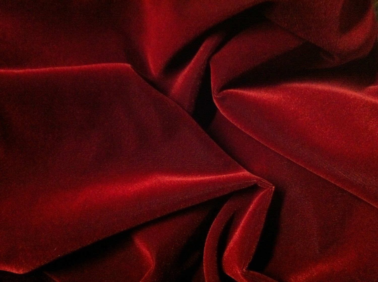RED LUXURY Polyester Velvet Velour Fabric Material