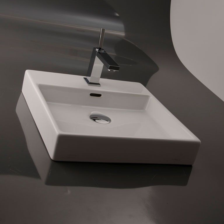 Modern High End Simplistic Square Ceramic Bathroom Vessel Countertop Sink With Overflow