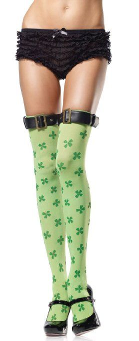 8d1223ed16805 Amazon.com: St. Patrick'S Day Clover Print Thigh High Nylon Stocking With  Belt Buckle Top (Green;One Size): Clothing