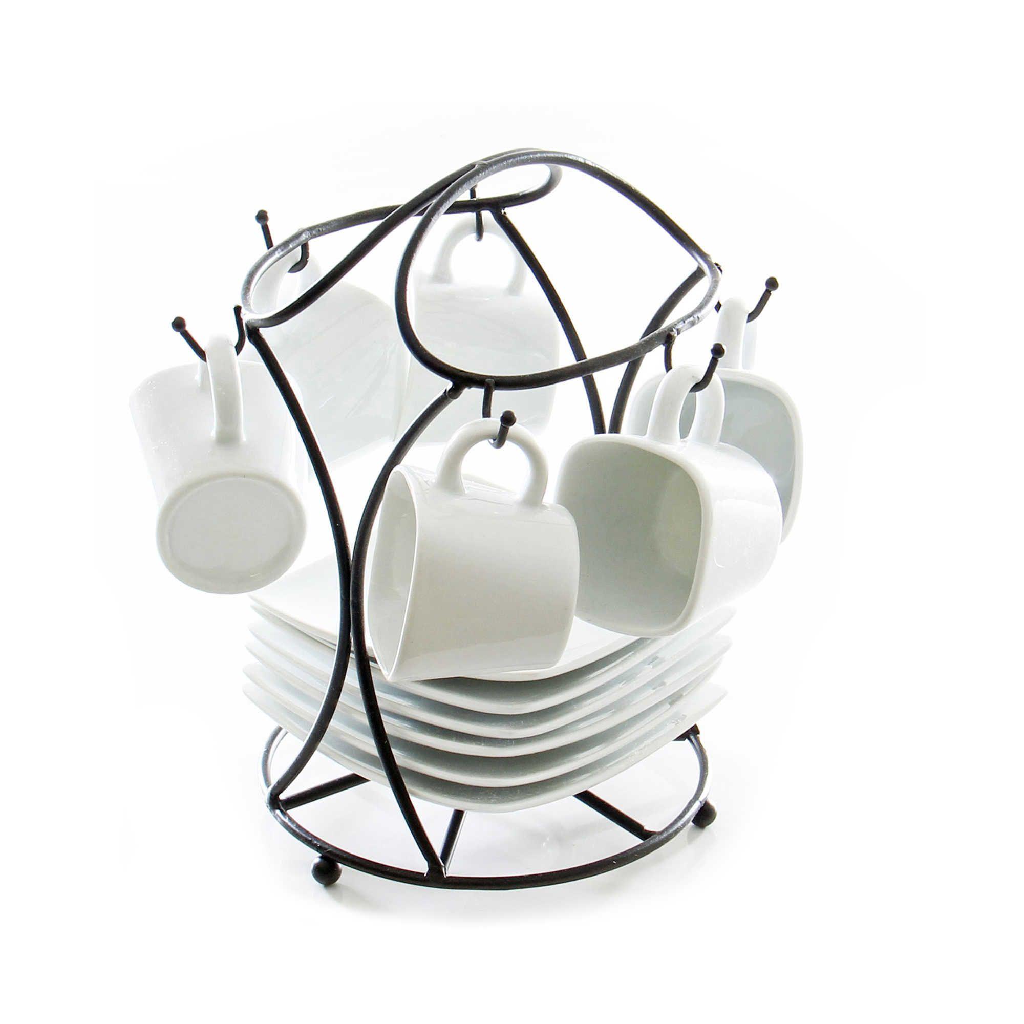B Smith 13 Piece Espresso Set With Stand Porcelain Tea Set
