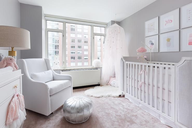 Light Gray Nursery Furnished With A White Crib Displaying A Collection Of Art Framed Overhead Pink And Gray Nursery White Crib Baby Bedroom