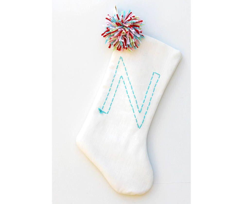White Christmas Stocking - Pom Pom Christmas Stocking - Boho Holiday ...