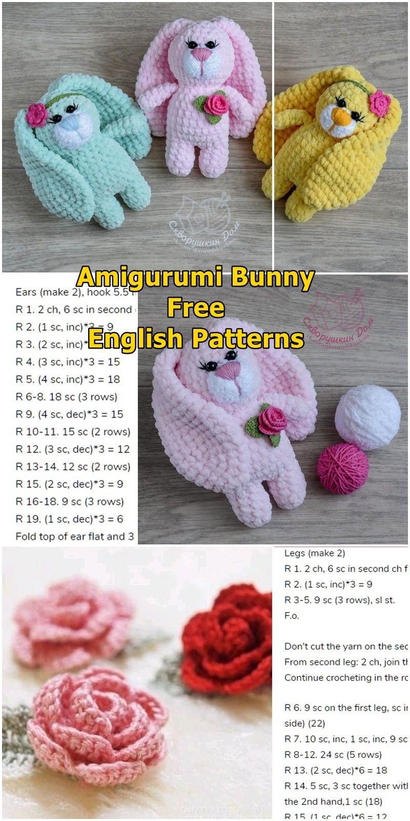 Amigurumi Plush Bunny With Rose Free Crochet Pattern - Amigurumi Crochet #eastercrochetpatterns