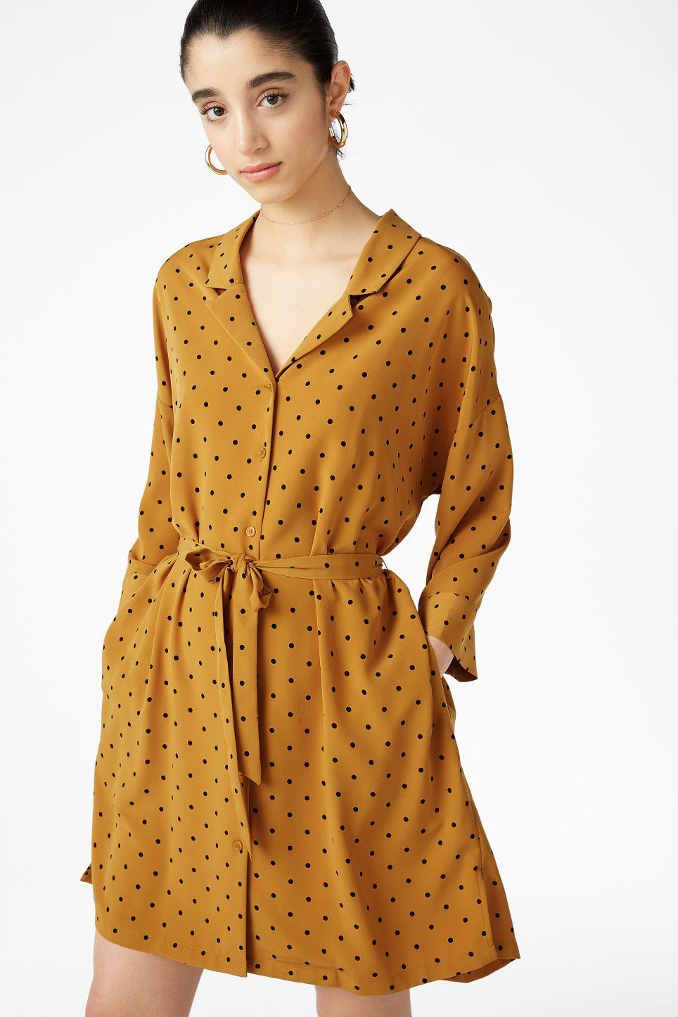 Model Front Image Of Monki Flowy Shirt Dress In Yellow Stitchfax