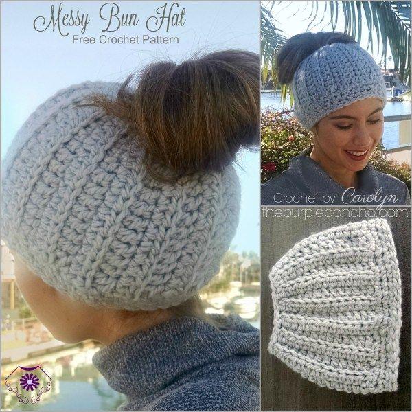 Messy Bun Hat – Free Crochet Pattern – The Purple Poncho | Pattern ...