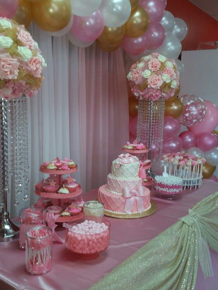 Rosa y Dorado  Mesas Principales  Baby Shower Balloon