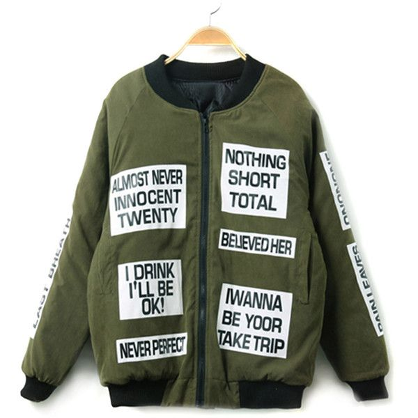 Choies Military Green Letter Print Long Sleeve Bomber Jacket (385 NOK) ❤ liked on Polyvore featuring outerwear, jackets, green, print jacket, green flight jacket, green military jacket, green jacket and army green jacket
