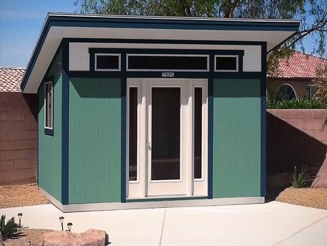 This postmodern style Tuff Shed building features a single slope