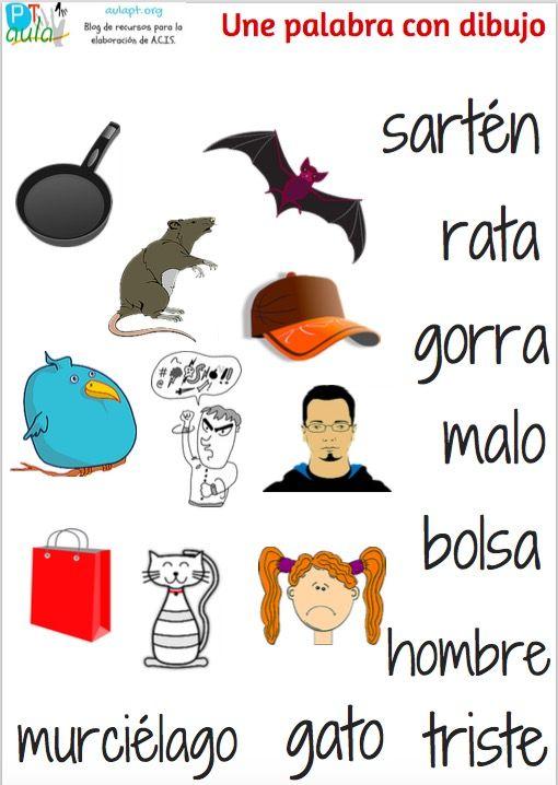 une palabra con dibujo 1 | LENGUA ESPAÑOLA PARA NIÑOS 1 | Matching ...