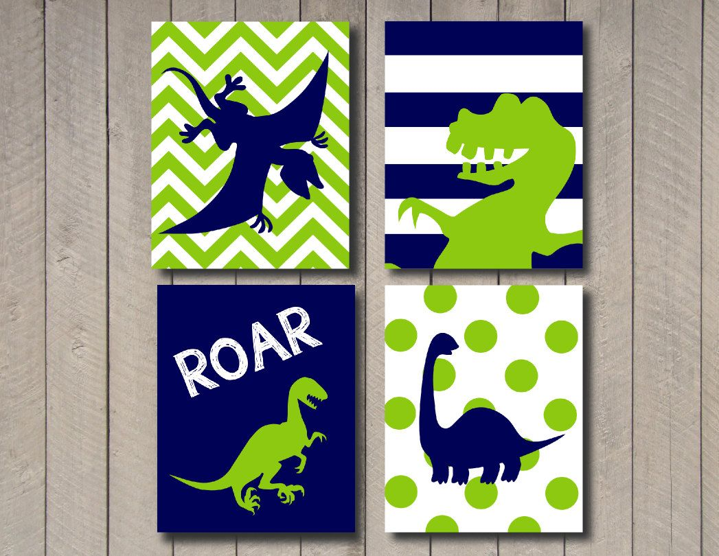 7 Inspiring Kid Room Color Options For Your Little Ones: Dinosaur Art- Any Colors -Kids Wall Art
