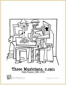 three musicians free printable coloring page pablo picasso