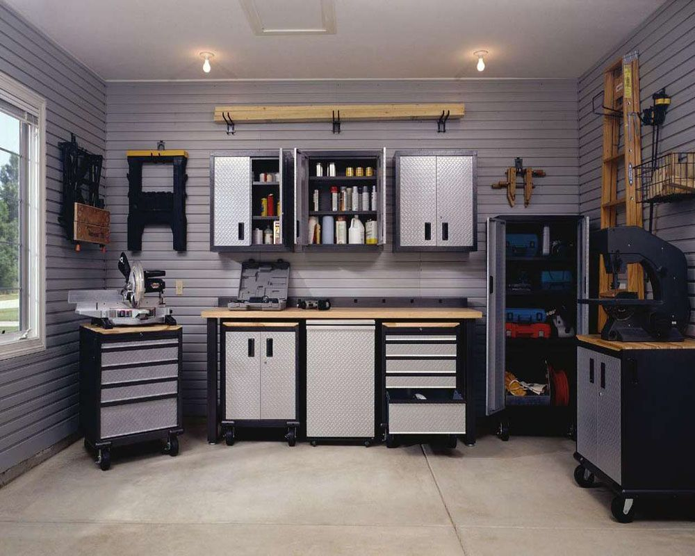 great tidy and efficient garage with husky workbench make it beauty garage storage ideas for small space ideas to find great house decorating ideas design advice