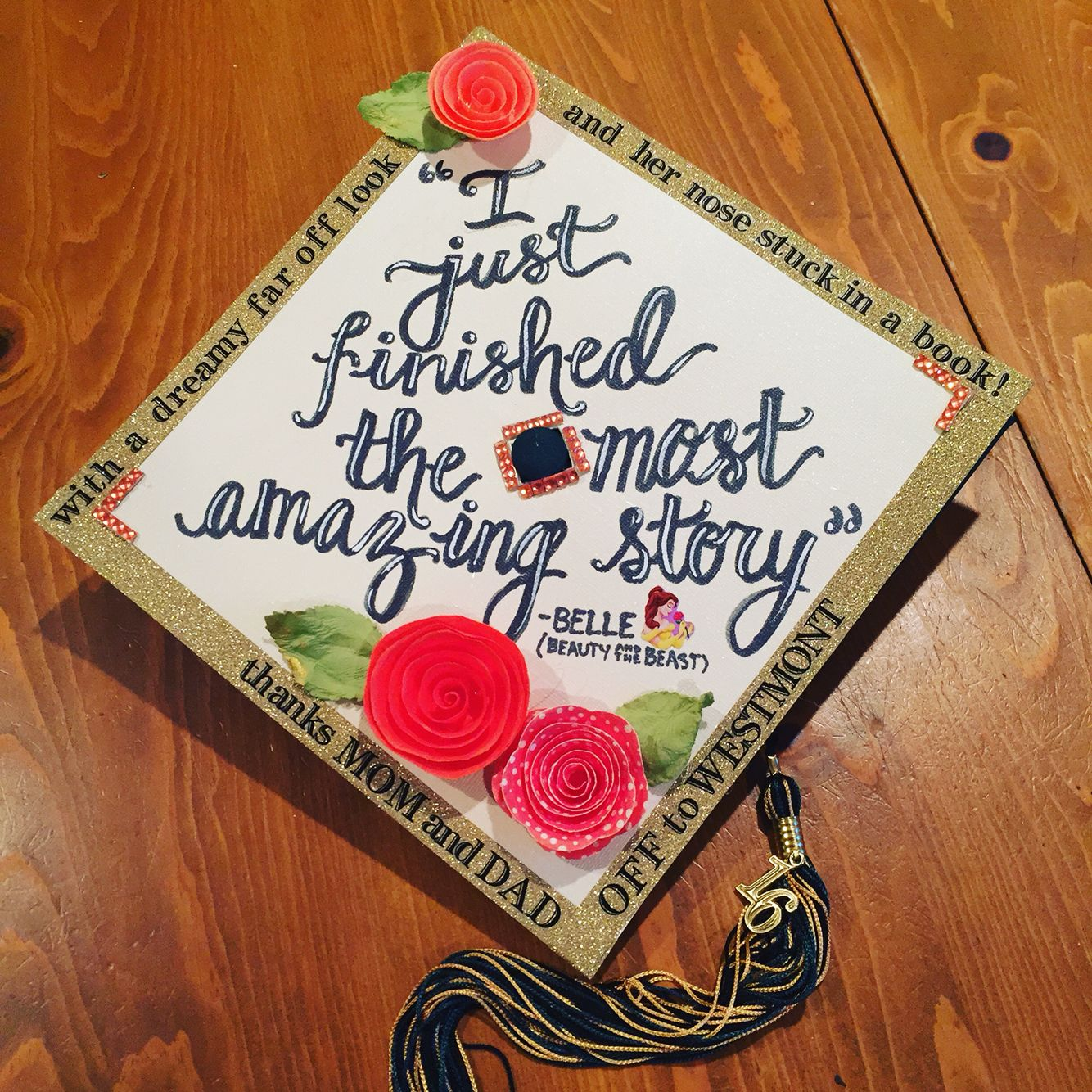 Beauty and the beast graduation cap, Disney graduation cap ...