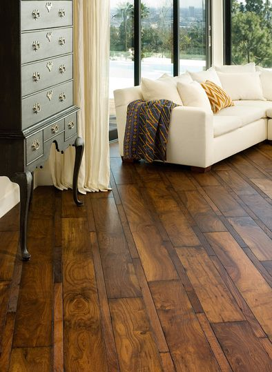 Love The Different Sizes Of Wood Boards And The Dark Stain On This Floor House Flooring Home Floor Design
