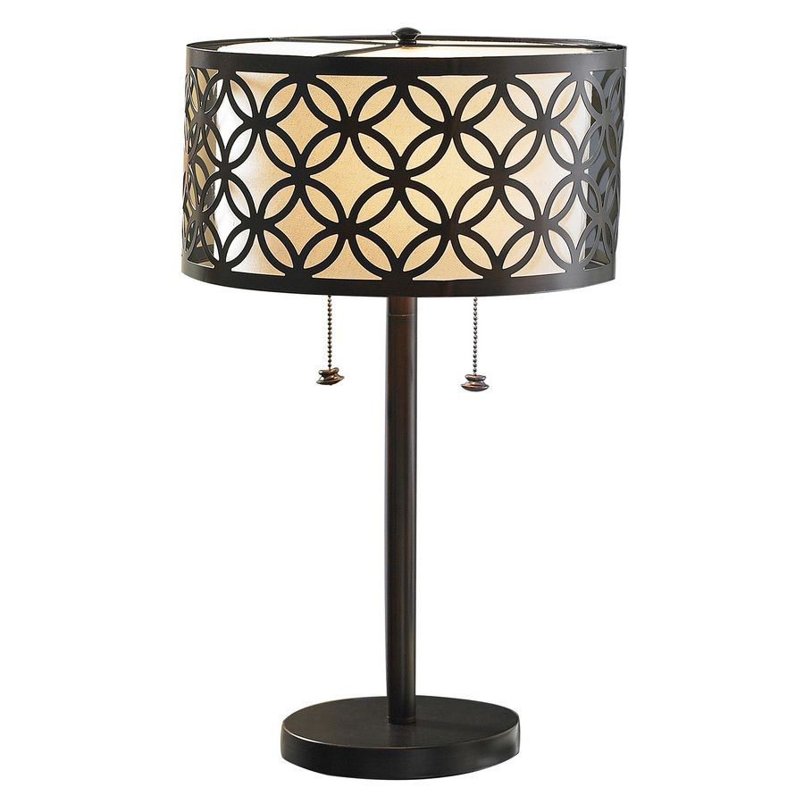 Shop Allen Roth Earling 25 In Oil Rubbed Bronze Indoor Table Lamp With Fabric Shade At Lowes Com Antique Oil Lamps Lamp Bronze Table Lamp Oil rubbed bronze table lamps