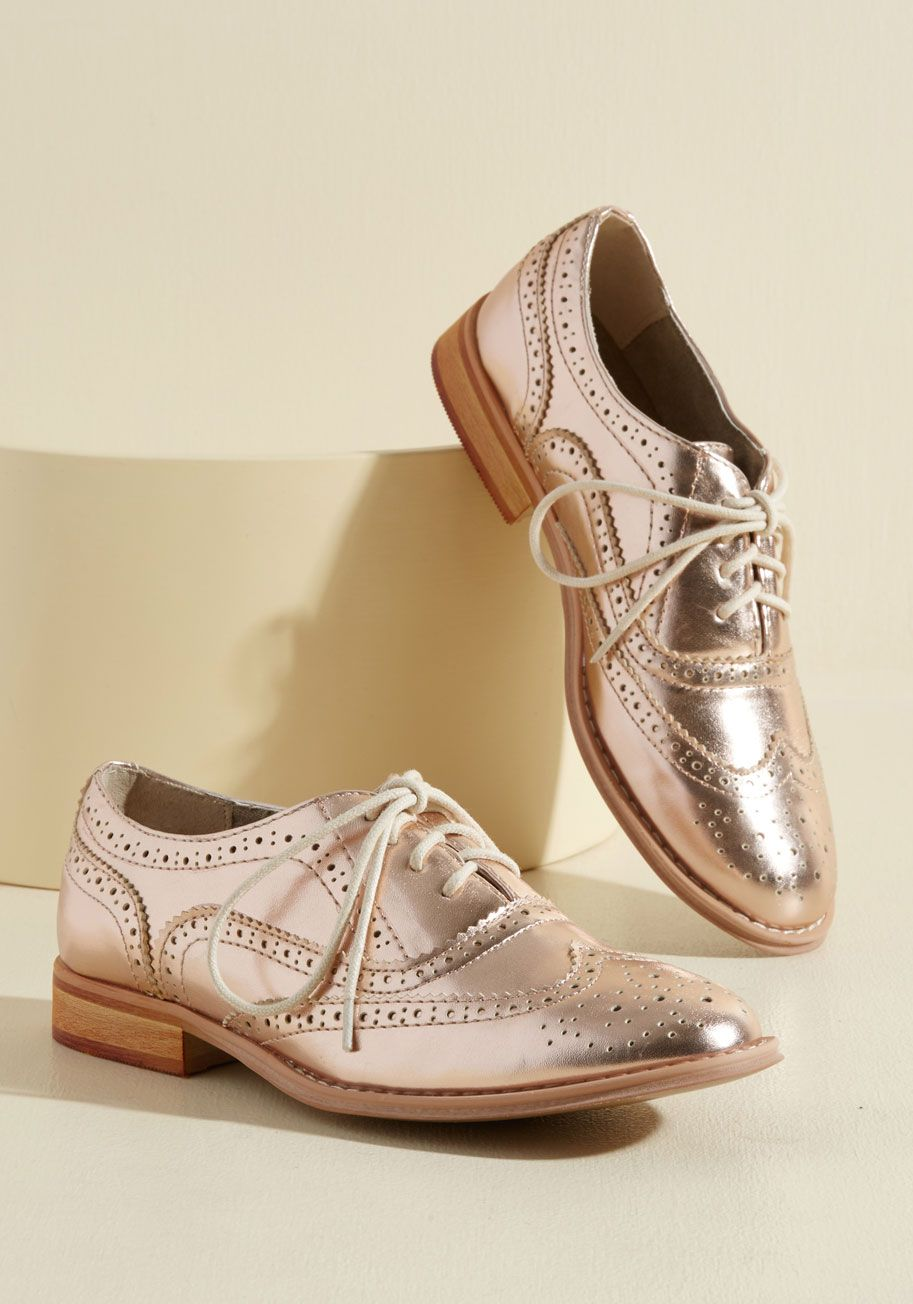 cd35acd2549 Talking Picture Oxford Flat in Rose Gold. And now for your feature  presentation - these metallic pink wingtips!  bronze  modcloth
