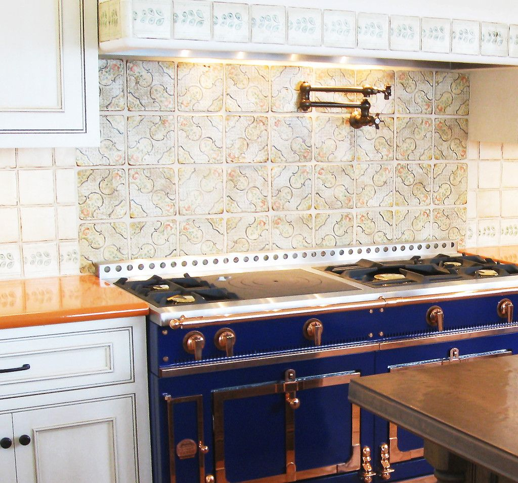 Orange Lavastone Counter With Blue French Range And