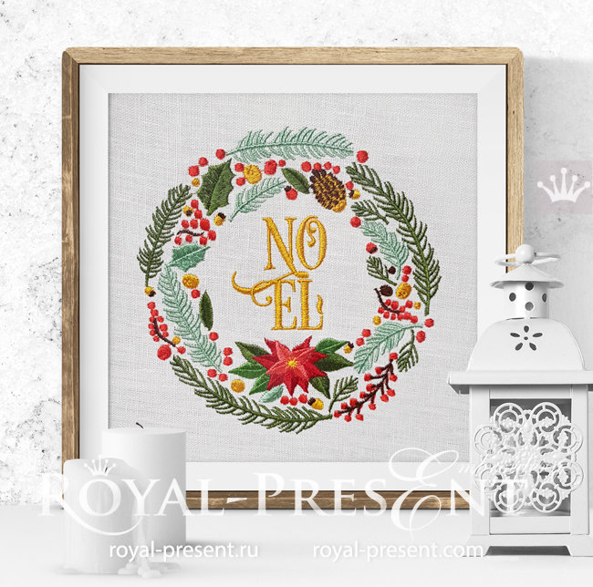 Christmas Wreath with NOEL Inscription embroidery design - 5 sizes