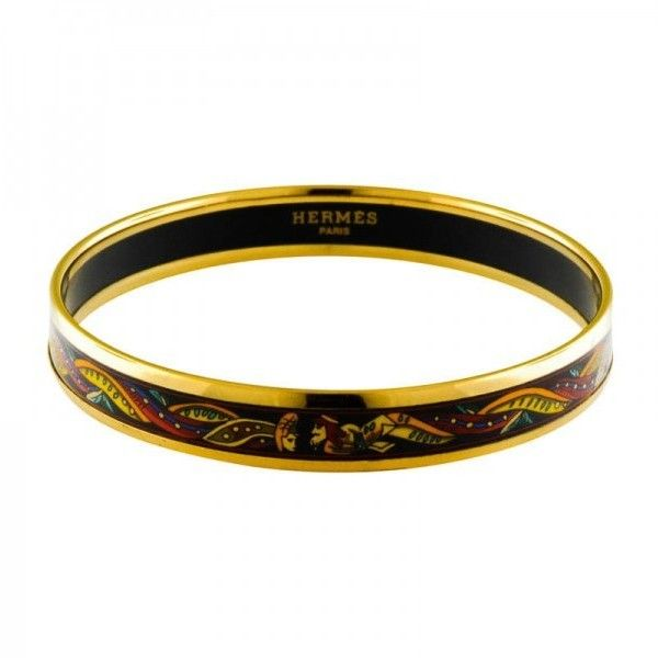 Pre-owned Hermes Narrow Black Enamel Aztec Gold Plate Bangle Bracelet (715 BAM) ❤ liked on Polyvore featuring jewelry, bracelets, enamel bangle bracelet, gold plated jewelry, bracelets bangle, hermes jewelry and gold plated bangles