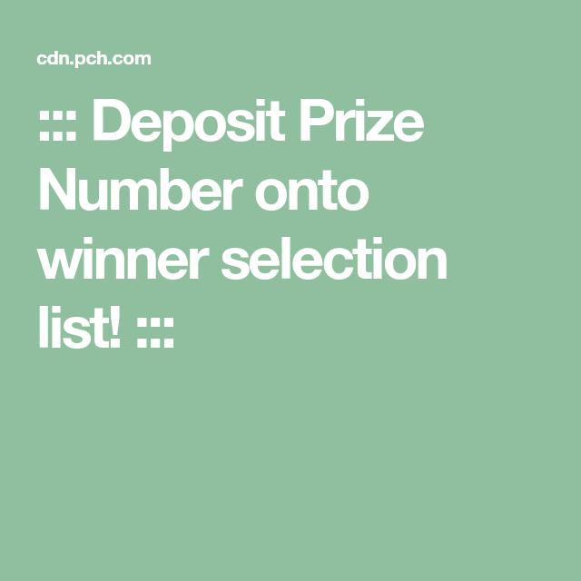 Deposit Prize Number onto winner selection list