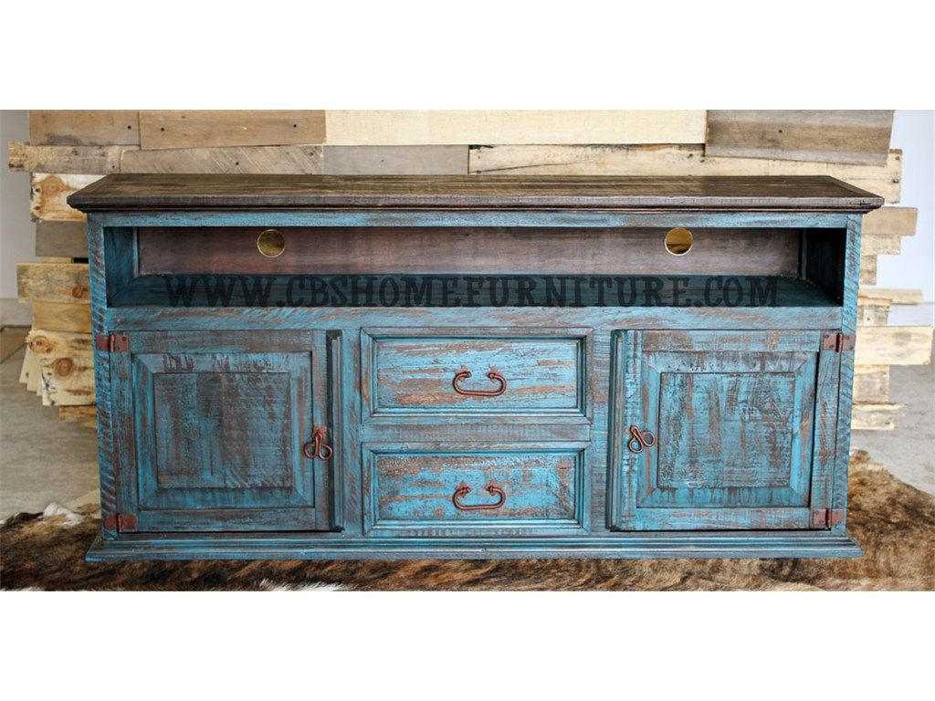 Million Dollar Rustic Living Room Turquoise Distressed Tv Stand 449 09 79 Cbs Furniture Cleveland Tx Baytown