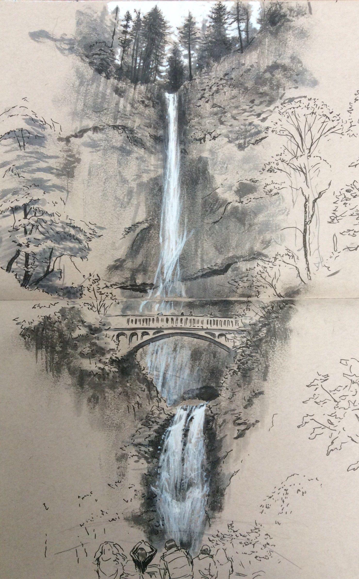 Multnomah Falls in 2019   Art sketches, Art drawings ...