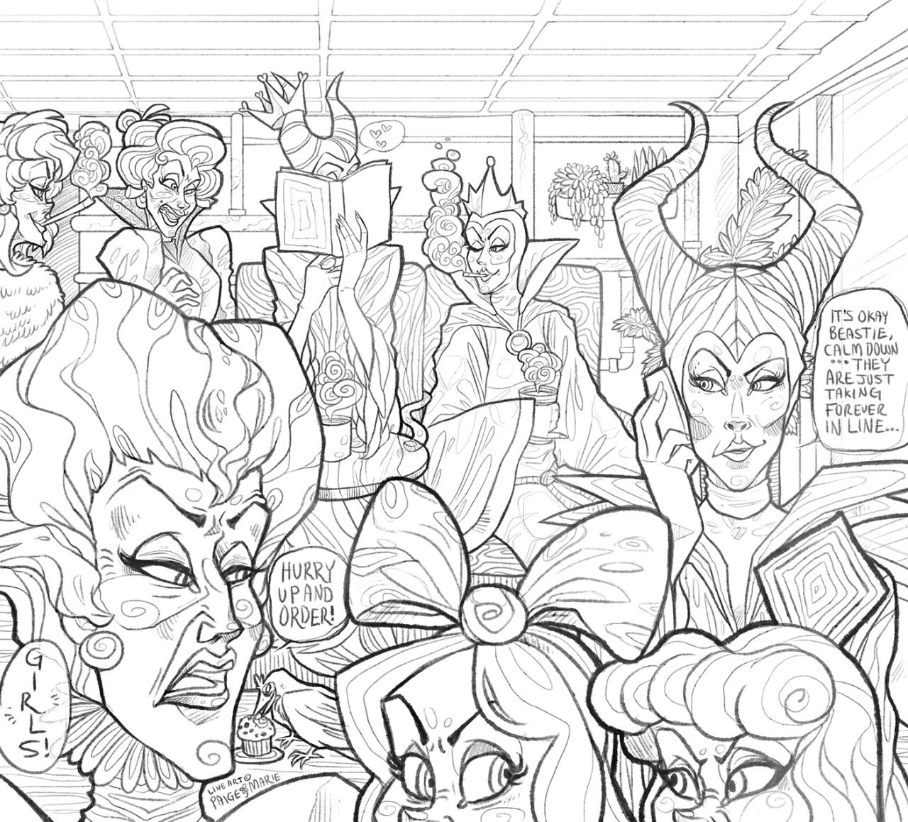Disney Villain Cafe Coloring Page Hello All Disney Coloring Pages Coloring Pages Enchanted Forest Coloring Book