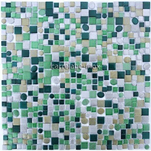Dalle-Mosaique-Aluminium-Carrelage-Cuisine-Credence-Trendy-Vert