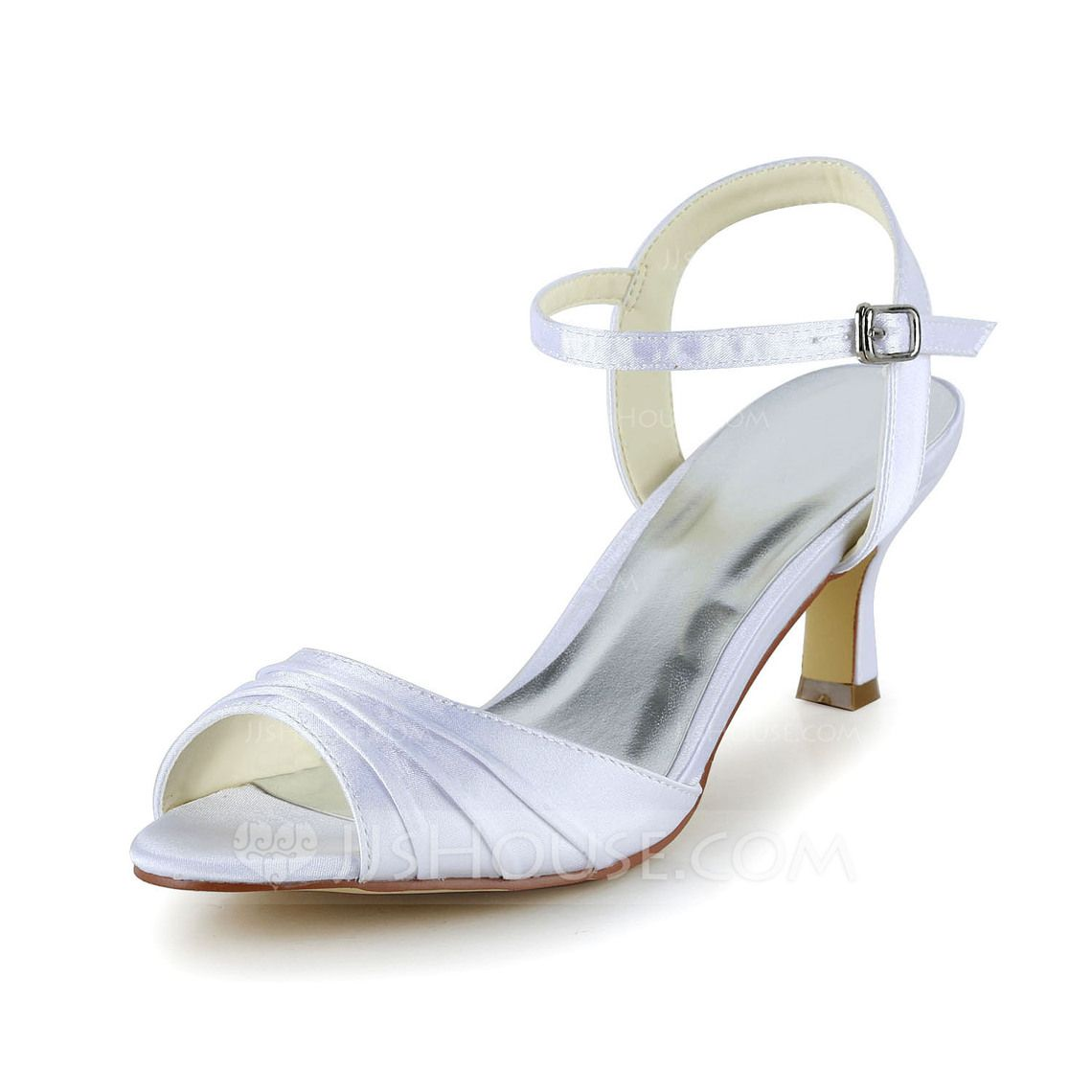 24c3e2ef799 Women s Satin Low Heel Peep Toe Sandals With Ruched (047039422 ...