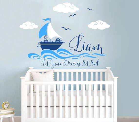 Nautical Themed Personalized Custom Name Vinyl Wall Decal Sticker - Personalized custom vinyl wall decals for nursery