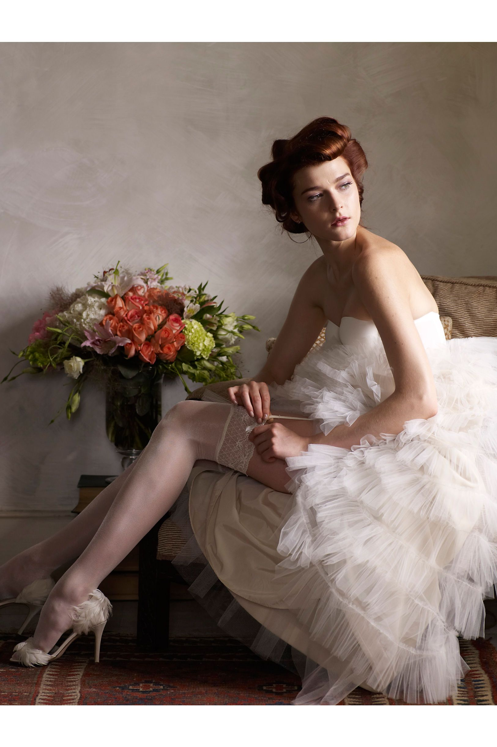 Shimmering Thigh Highs from BHLDN | Bridal Tights and Stockings ...