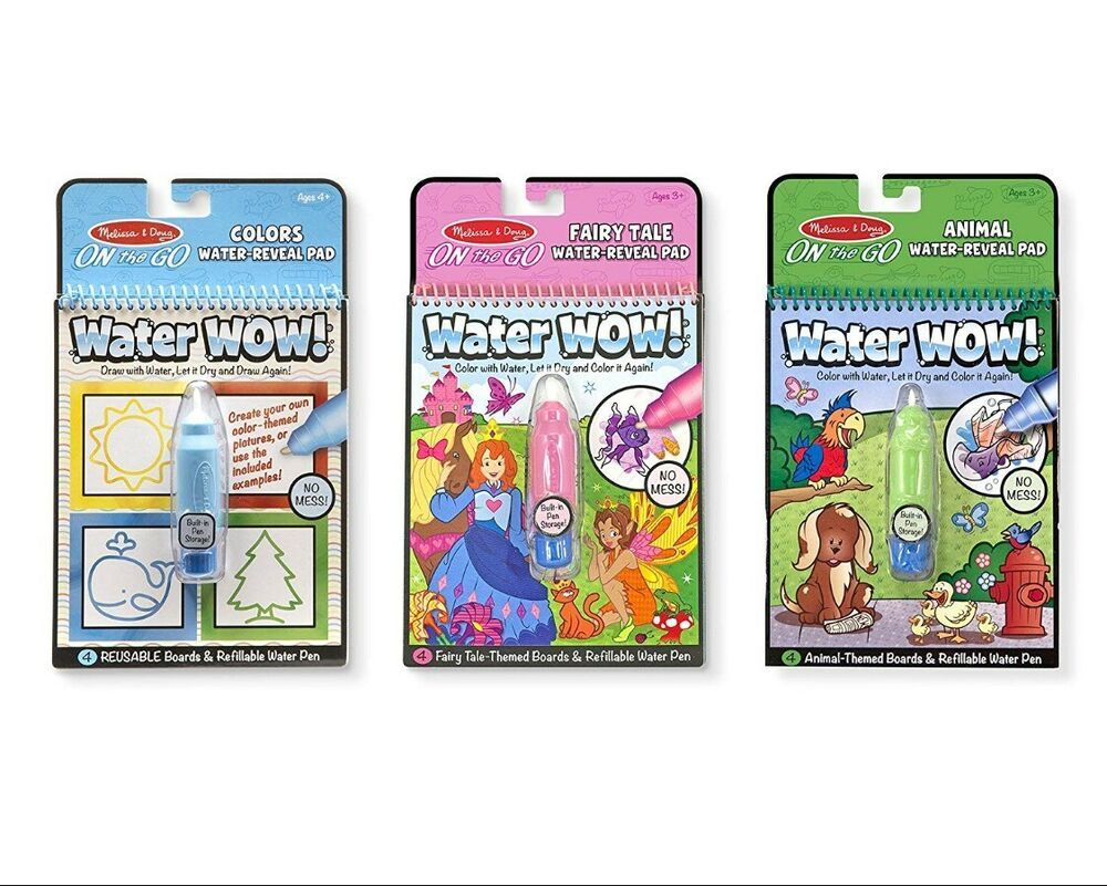 Melissa Doug On The Go Water Wow 3 Pack The Original Reusable Water Reveal Melissadoug Coloring Book Set Book Activities Toddler Painting Activities