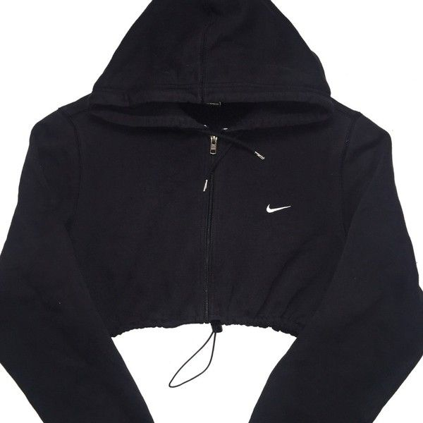 bb1ab8d9a Reworked Nike Zip Up Crop Hoody Blk ($48) ❤ liked on Polyvore ...