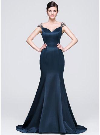 f918a4a14 Trumpet/Mermaid Sweetheart Court Train Satin Evening Dress With Beading  Sequins   Dresses in 2019   Vestido de cetim longo, Vestido cetim, Vestido  de festa