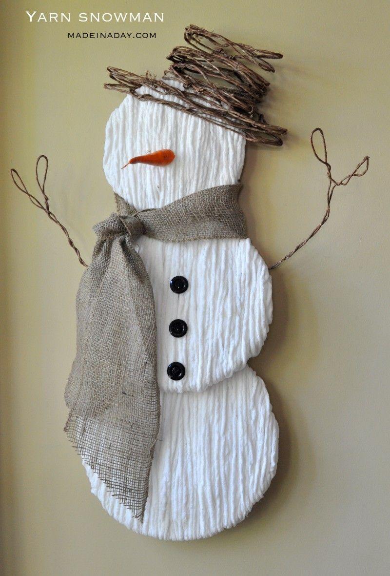 Cute yarn snowman wall art snowman crafts diy snowman