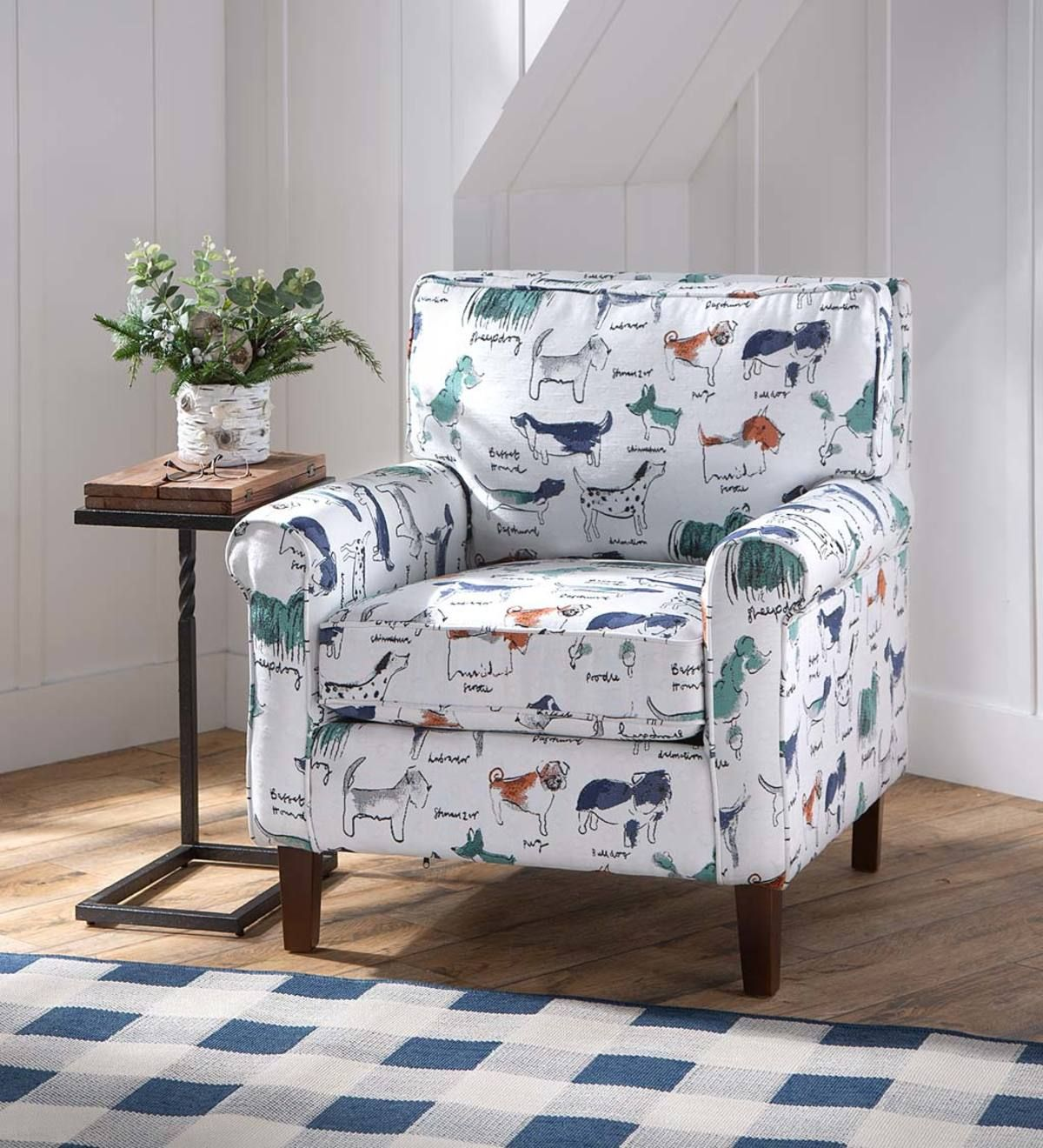 Going to the dogs upholstered dog print arm chair in 2020