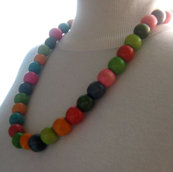 Artisan Fashion Chunky Wood Beads Statement by MariolasFeltDesign