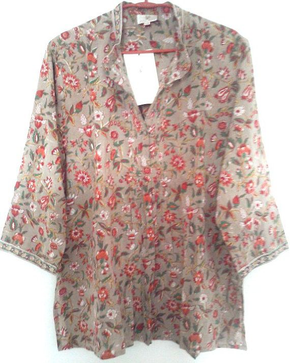b8e64fd47f4 Beautiful Chinoiserie Floral Anokhi Hand block print Blouson style Cotton  Tunic top Blouse Size L/XL