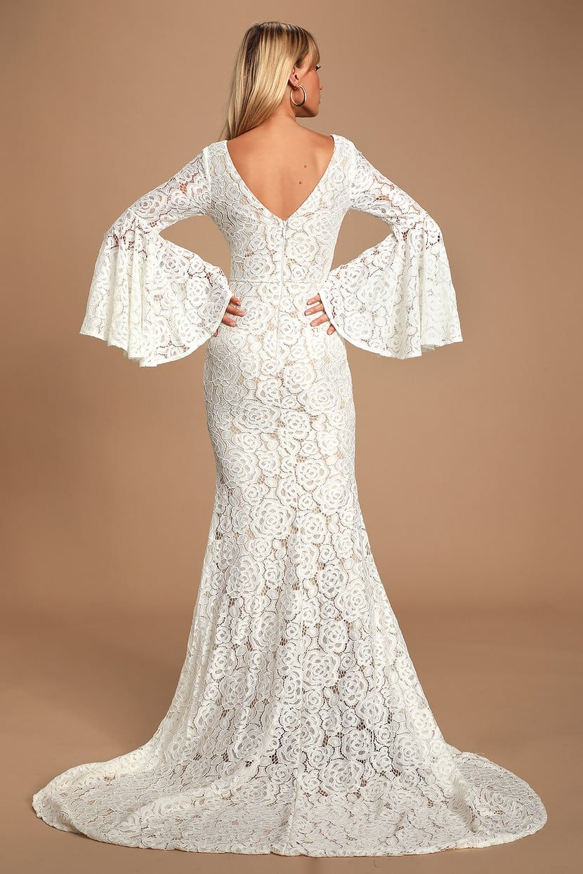 Duchess Ivory Lace Bell Sleeve Maxi Dress In 2021 Maxi Dress With Sleeves Long Sleeve Bridal Dresses Maxi Dress [ 1245 x 830 Pixel ]