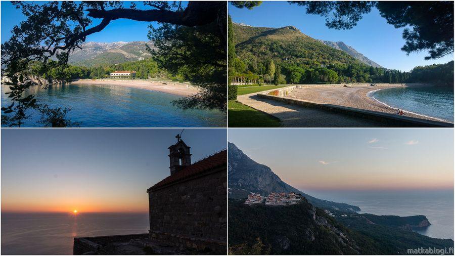 Montenegrossa asusteleva matkabloggaaja Reissuesa kertoo Milocerin puistosta ja auringonlaskusta Sveti Stefanin yllä.